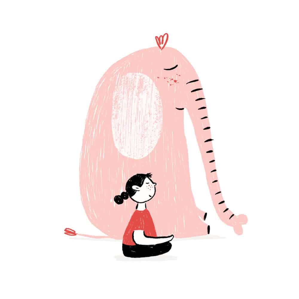 niña meditando ilustración - cocotips