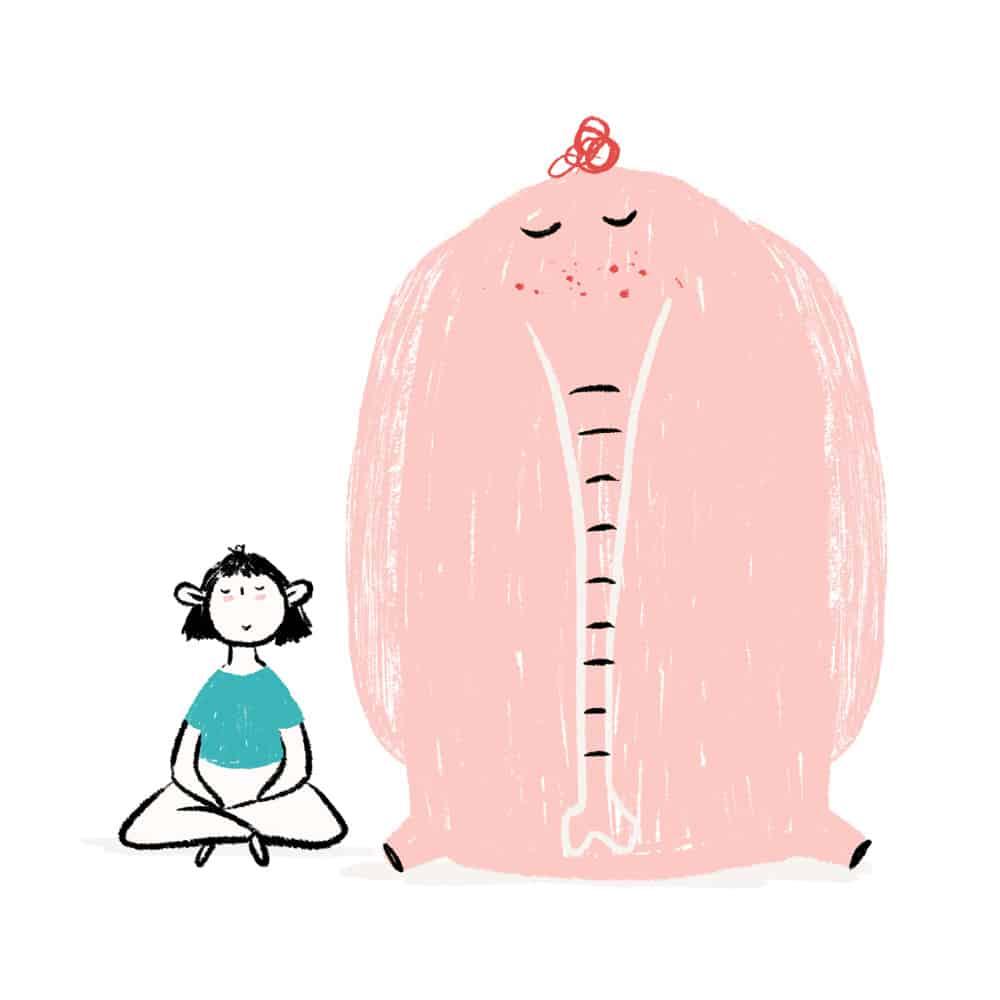 niña meditando camiseta azul ilustración - cocotips