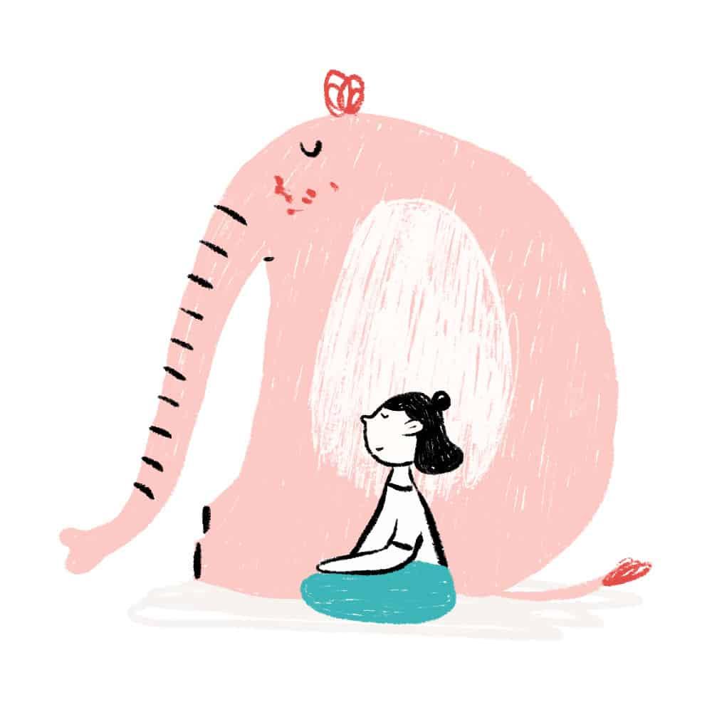 niña meditando sentada ilustración - cocotips