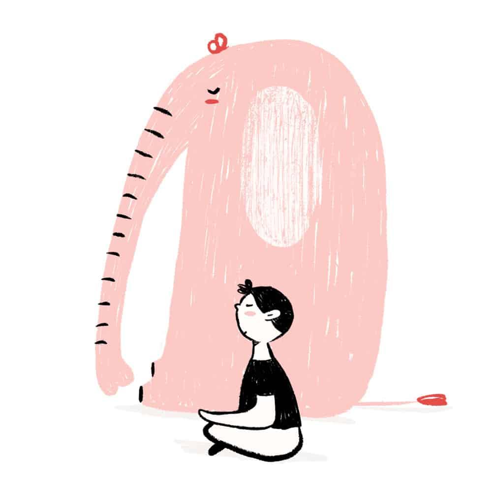 niño meditando camiseta negra ilustración - cocotips