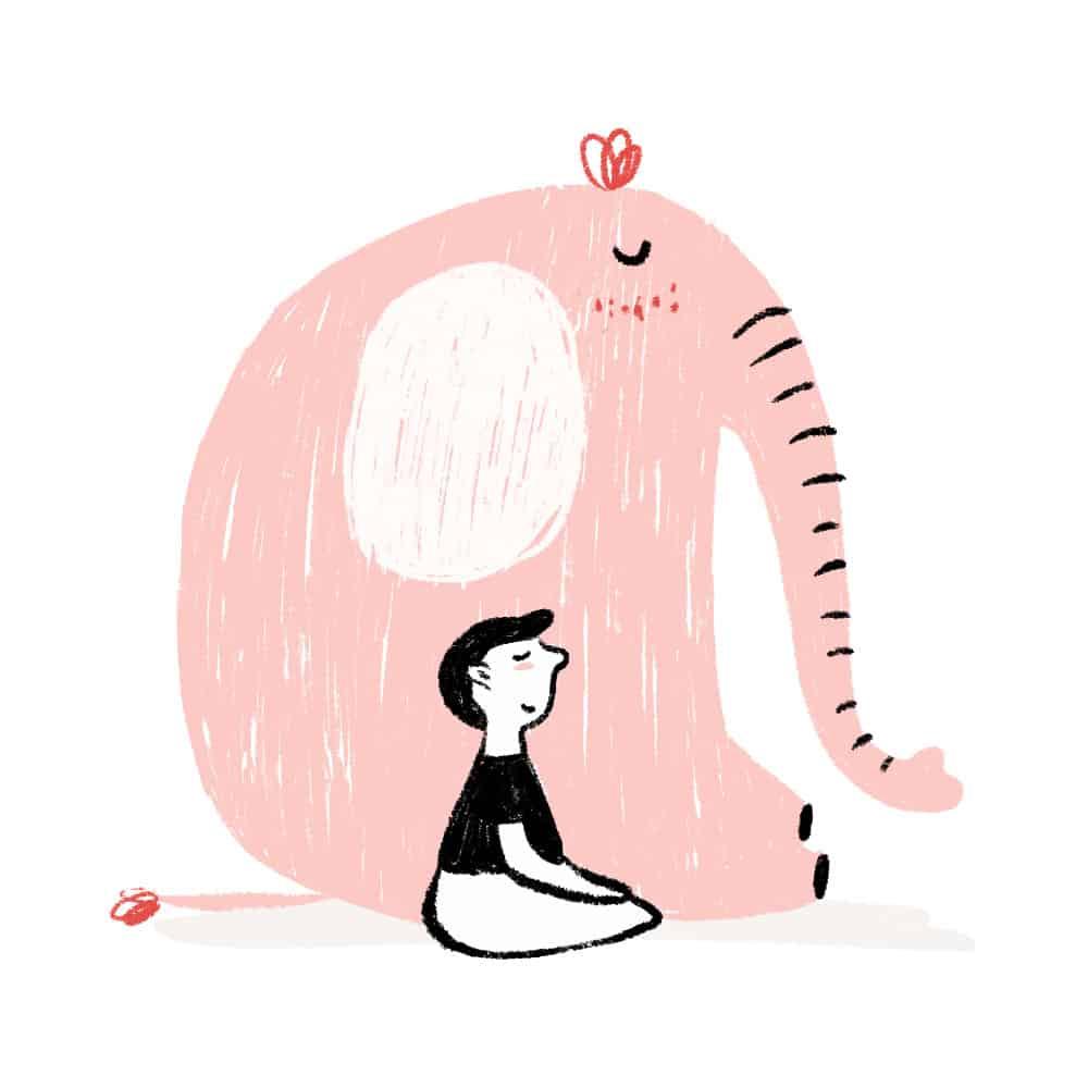 niño meditando sentado ilustración - cocotips