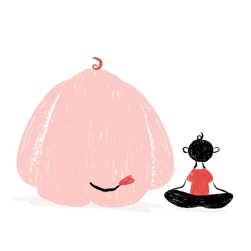 niño meditando camiseta roja ilustración - cocotips