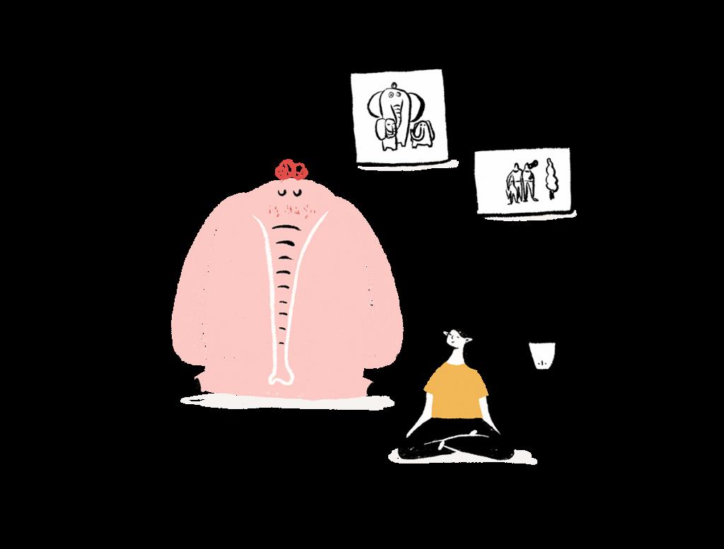 Comunidad de práctica mindfulness ilustración- cocotips