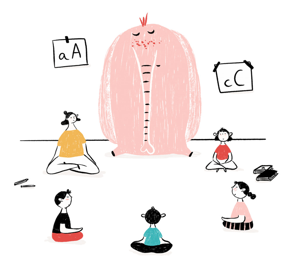 mindfulness en el colegio ilustración - cocotips
