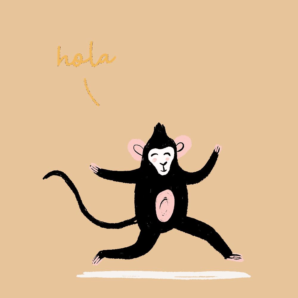 hola mono ilustración - cocotips